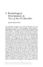 twentieth century interpretations of tess the d urbervilles a psychological determinism in tess of the d urbervilles springer