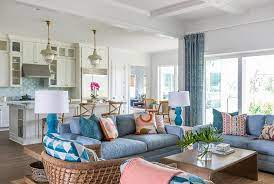 blue sofa with brown waterfall coffee