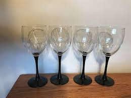 details about luminarc black stem water wine glasses set of four swirl clear tops