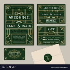Wedding Invitation Downloads Emerald Green Art Deco Wedding Invitation Template