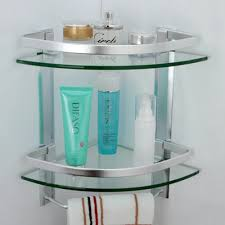 kes bathroom tier corner glass shelf with wide rail and towel bar shelves shower hanger aluminum frame custom pantry bookcase slimline storage cable box