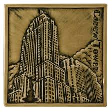 a rookwood tile depicting carew tower one cincinnati landmark memorialized by another