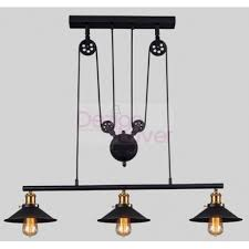 industrial iron pulley triple pendant lamp with edison bulbs