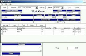 Manufacturing Work Order Template Work Order Template Download