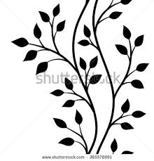 tree branch with leaves vector. vector illustration, seamless pattern, decorative black and white tree branches with leaves branch