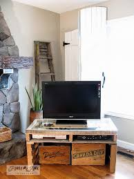 Pallet TV stand with junk showcase and crate storage by Funky Junk  Interiors
