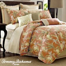 interior green leaf pattern orange tropical bedding sets with white bed with brown rattan headboard