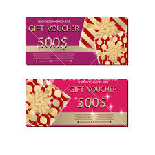 Holiday Gift Card Template Set Of Luxury Gift Vouchers With Golden Ribbons Bows And Gift Box