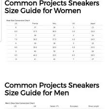 Common Projects Shoe Size Chart Common Projects Achilles Low Top Canvas Nwt