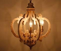 6 light wooden chandelier antique white parrot uncle