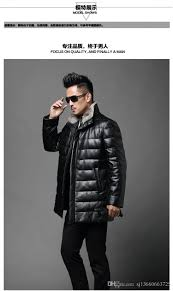 men s genuine sheep leather coat jacket mink fur collar genuine leather goose down jacket slim thick warm coat by sj13660663725 dhgate com