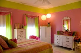 Pink And Green Girls Bedroom Ideas With Girls Glam Panel Bed And