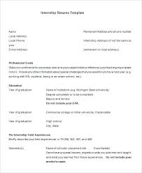 Student Resumes Template High School Internship Resume Download Internship Resume