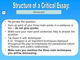 critical essay writing some advice introduction body paragraph  3 re phrase