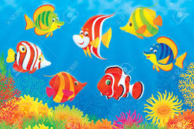 Pesci tropicali di sopra di una barriera corallina colorata foto