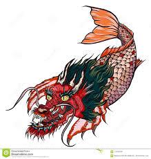 рыбы головы дракона и карпа Koi в круге конструируют для татуировки