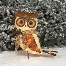holiday time decor 24 sparkling burlap with bark owl sculpture com