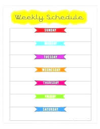 Business Monday Through Friday Work Schedule Template Monday