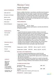 Cover Letter Audio Engineer Resume Template Example Cv Sound