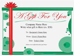 free editable gift certificate template free free