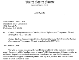 Foss Patents Six Senators Oppose Exclusion Orders Over Standard