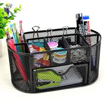 9 storage multi functional mesh metal desk organizer pen holder stationery container box office school