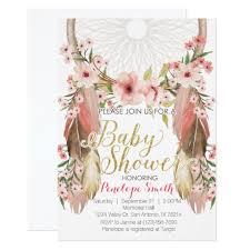 Dream Catcher Baby Shower Invitations Boho Pink Gold Dreamcatcher Baby Shower Invitation Zazzle 9