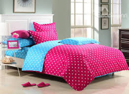 cute little white polka dot with red background reversible 4 piece cotton duvet cover sets
