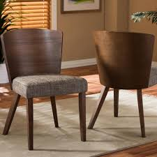 baxton studio sparrow gray fabric upholstered and um brown wood dining chairs set of 2