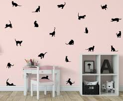 cat wall decal kitten wall decal 21 cats sticker kitty decal kids room decal abpt17 l