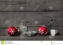 Kitchen Christmas Kitchen Christmas Background With Red Balls And Dishes On Wood F