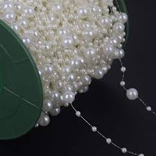 Online Shop <b>5 Meters Fishing Line</b> Artificial Pearls Beads Chain ...
