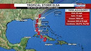 tropical storm on projected path to Florida