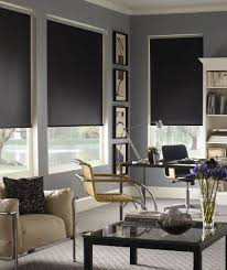 Blackout Roller Shades for Media Room contemporary-home-office