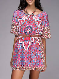 Print Dresses Red And White And Blue L Chic Round Neck Ethnic
