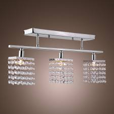 3 light hanging crystal linear chandelier with solid metal fixture modern flush mount ceiling light fixture for entry dining room bedroom