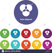 Venn Diagram Color Round Venn Diagram Icons Set Vector Color Stock Vector Art
