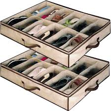 Space Saving Shoe Rack Babz 2 X 12 Pair Underbed Under Bed Shoes Storage Space Saving