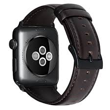 for apple watch band 42mm genuine leather replacement strap for iwatch band with stainless metal connectors