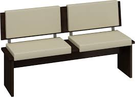 Black Polished Solid Wood Dining Bench With White Leather ...