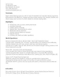 Cv For Cleaning Job Sample Cleaning Resume Cocinacolibri Com