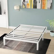 white metal platform bed. Perfect Bed Hukill White Metal Platform Bed Frame Inside C