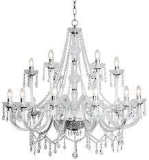 dar katie large traditional 18 light acrylic chandelier chrome