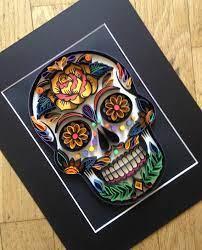 paper wall art sugar skull quilling