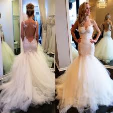 sexy mermaid trumpet straps lace wedding dress bridal gown