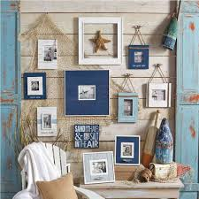 decorative fish wall decor for classic nautical bathroom plan with white wooden chair and rustic paint color