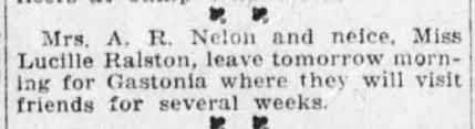 Myra Palmer Nelon takes a trip to Gastonia in 1917. - Newspapers.com
