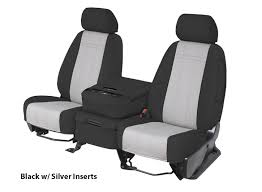 three installed neoprene seat covers silver black and red