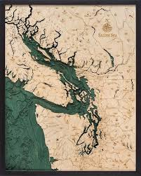 Lake Conroe Nautical Chart Salish Sea Wood Carved Topographical Map Beneaththesail In