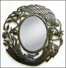 metal framed mirror haitian steel drum art